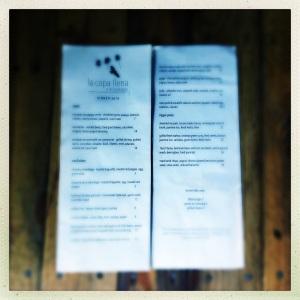 last week's menu