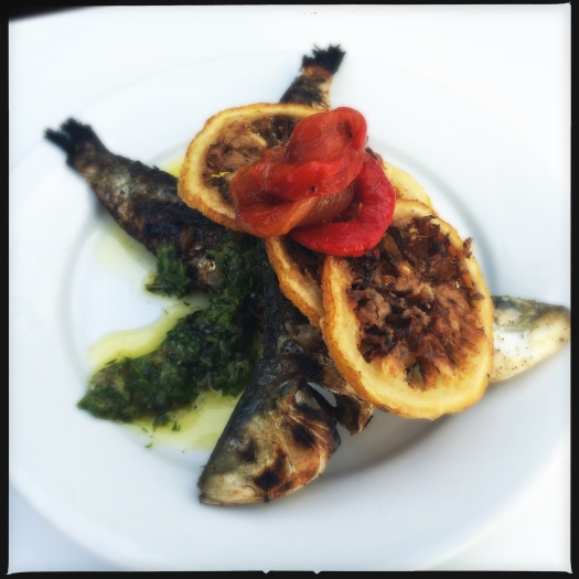 grilled sardines with sea salt, lemon-manchego pistou, fried lemon, roasted red pepper