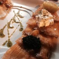 Smoked salmon, caviar, queso de burgos.