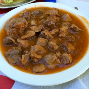 Moelos: stewed chicken insides.